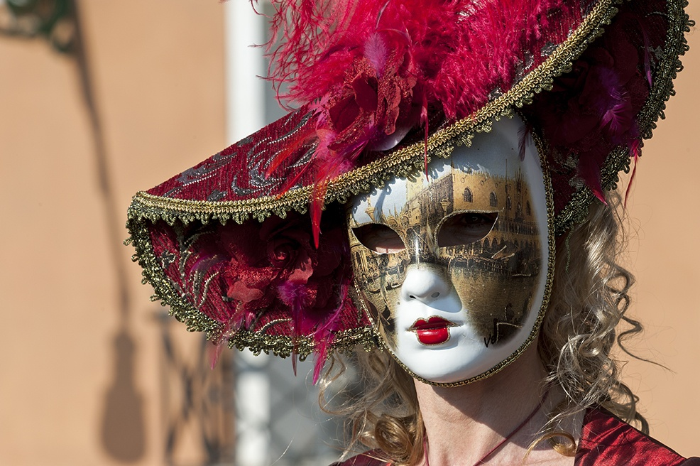 venice carnival red woman mask