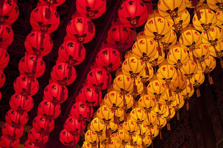 Penang Red and Yellow Chinese New Year Lanterns