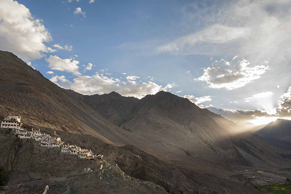 India-Nubra-Valley-monastery-Sunset