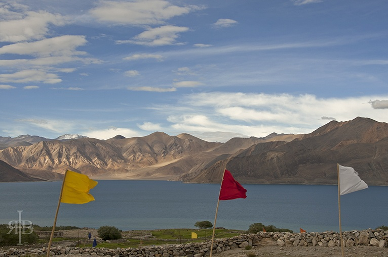 India Pangong flags and water