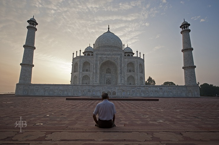 India Taj Mahal side with man