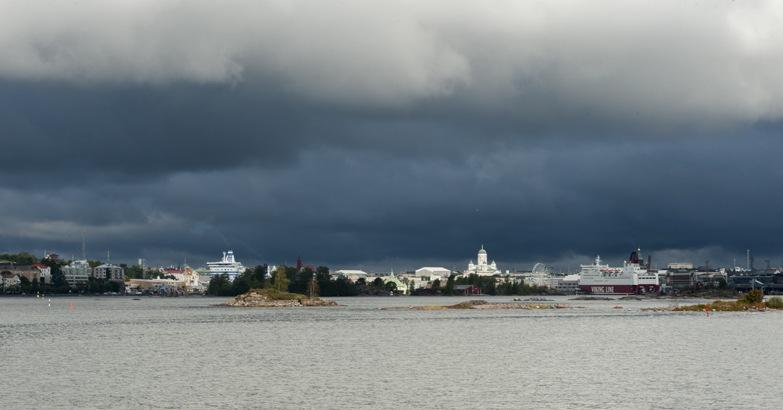 Finland Helsinki Skyline with Storm