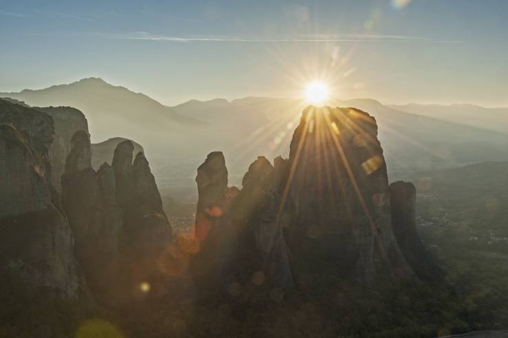 Greece Meteora Sunset