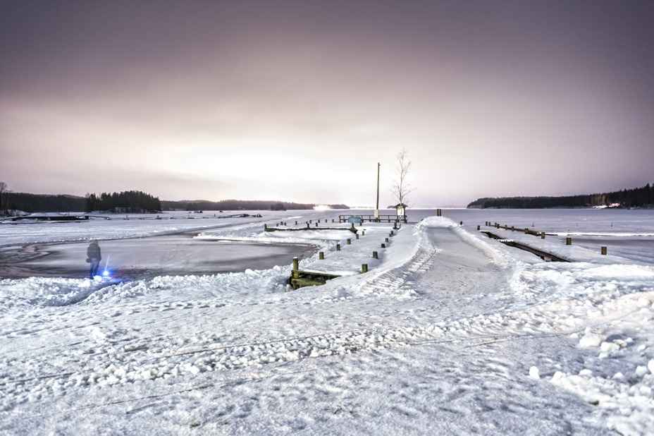 frozen lake twilight mikkeli finland