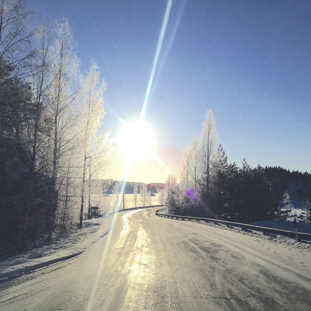 frozen road mikkeli sunshine