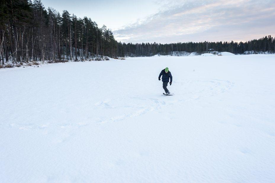 snowshoes frozen lake saimaa