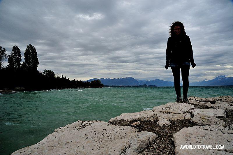 windswept lake garda shore rocks