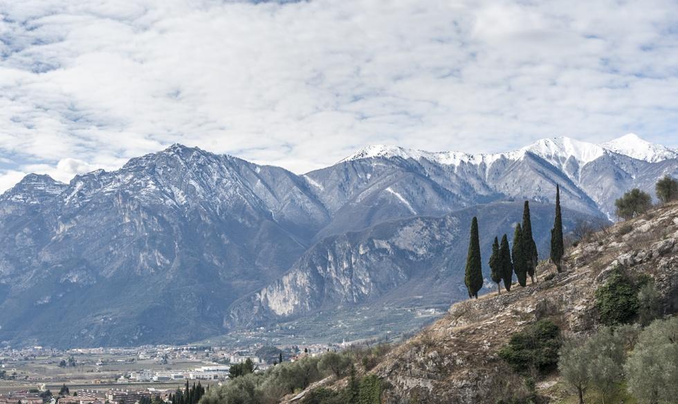 cypresses mountains lake garda