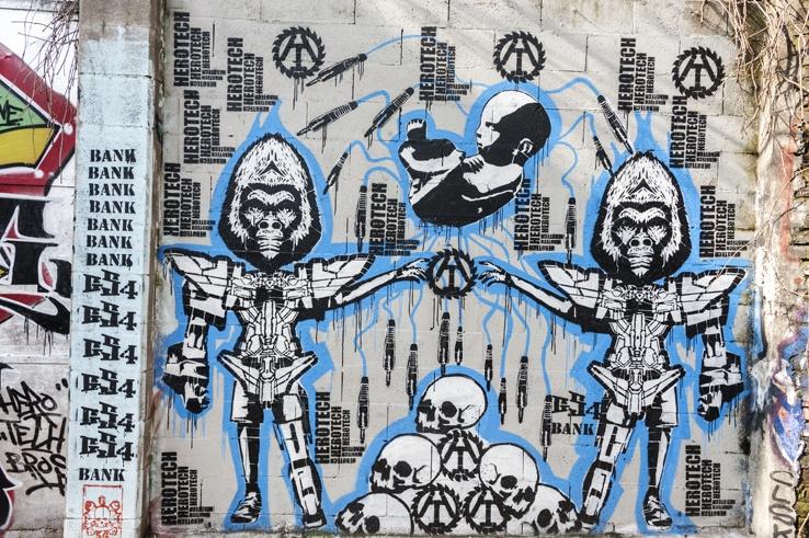 street art leoncavallo milan robot apes
