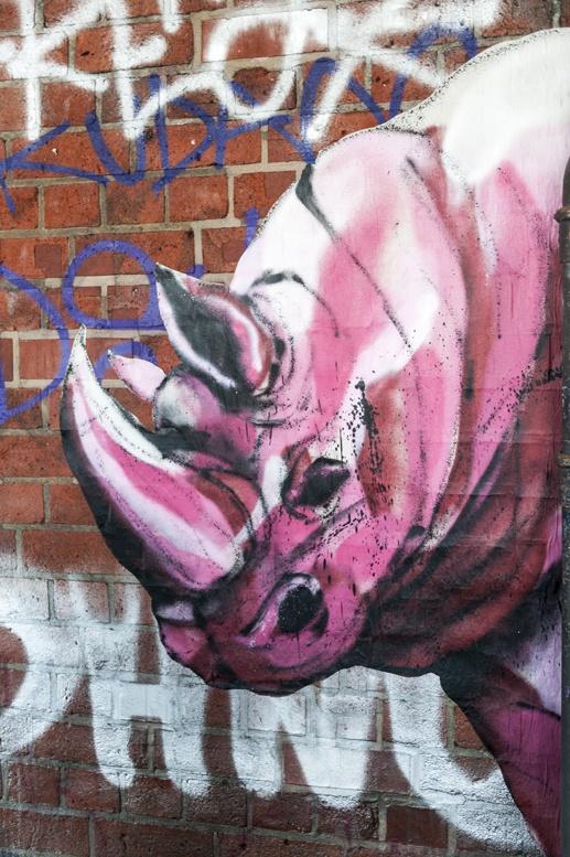 berlin street art pink rhino