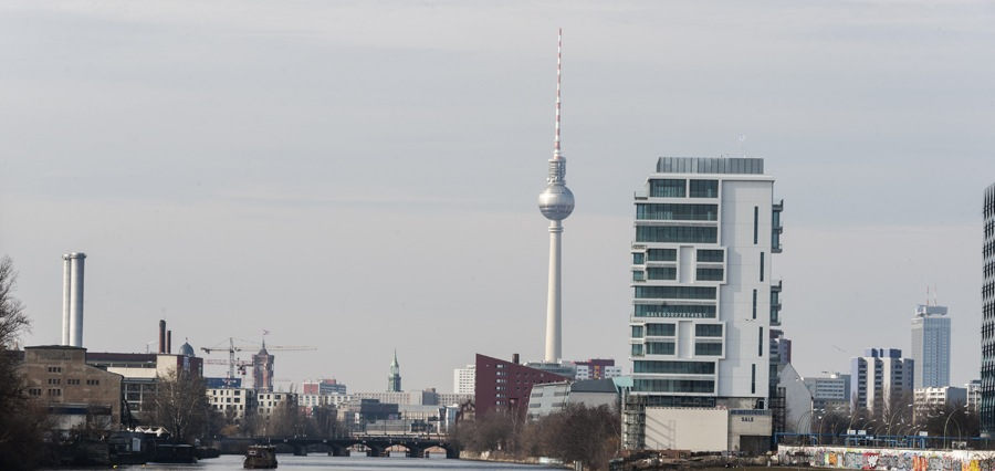 berlin modern skyline from spree
