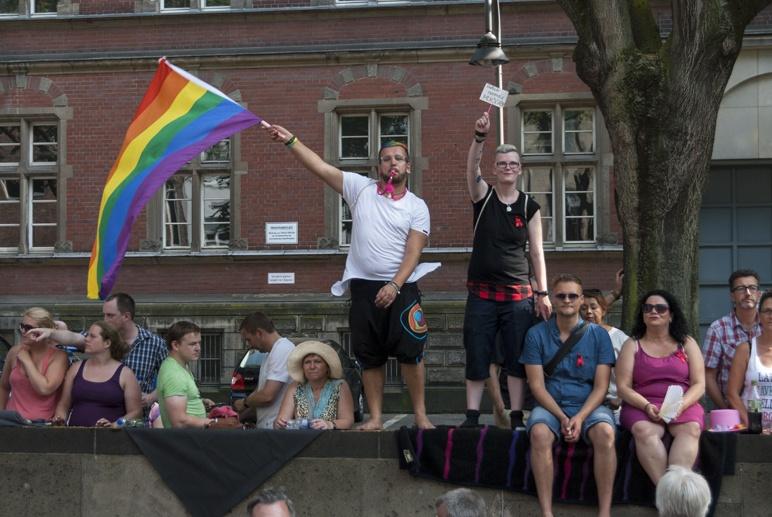 waving rainbow flag cologne gay pride