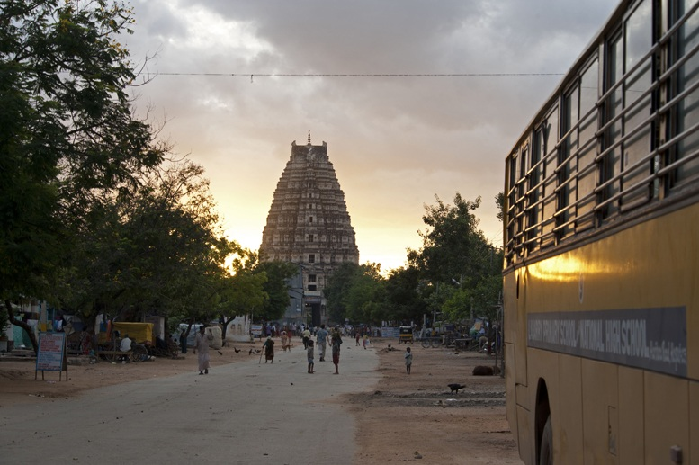 Hampi temple and school bus