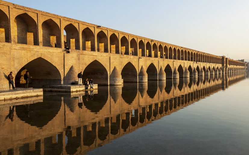 siosepol bridge sunset isfahan