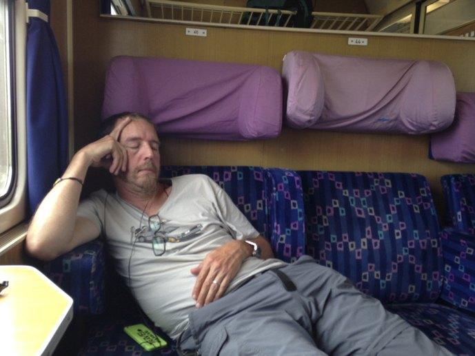 sleeping boy on train