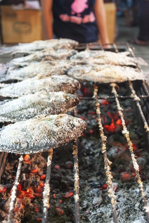 Bangkok grilled fish street food