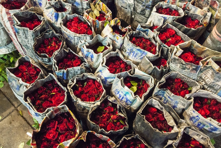 Bangkok night flower market roses