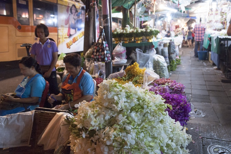 Bangkok night flower market orchids