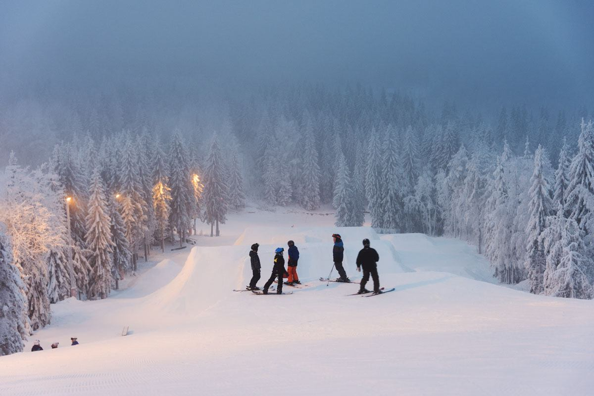 skiing in finland slopes night