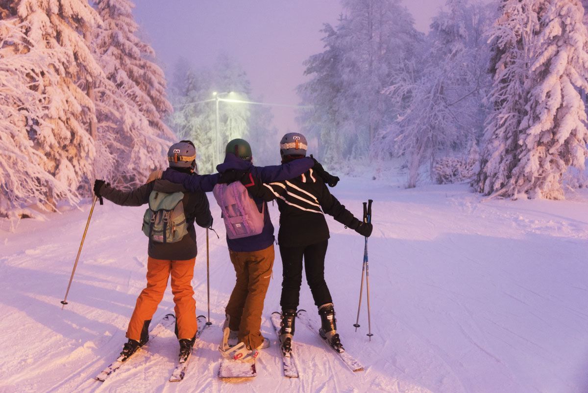 skiing sunset pink finland