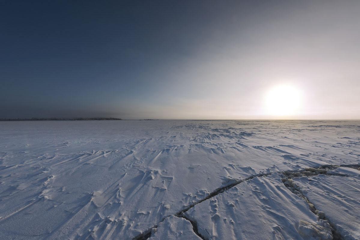 lapland frozen ice crack