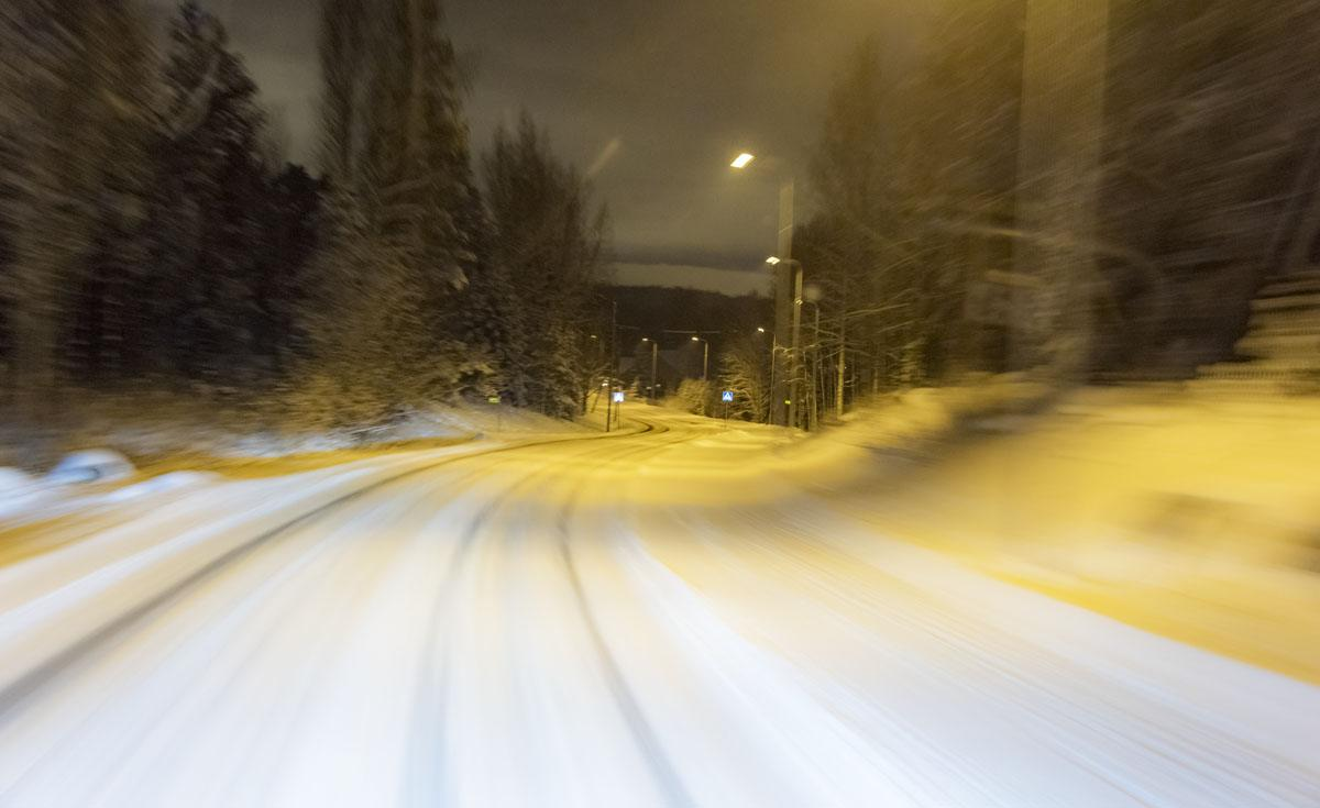 road to espoo snowy finland