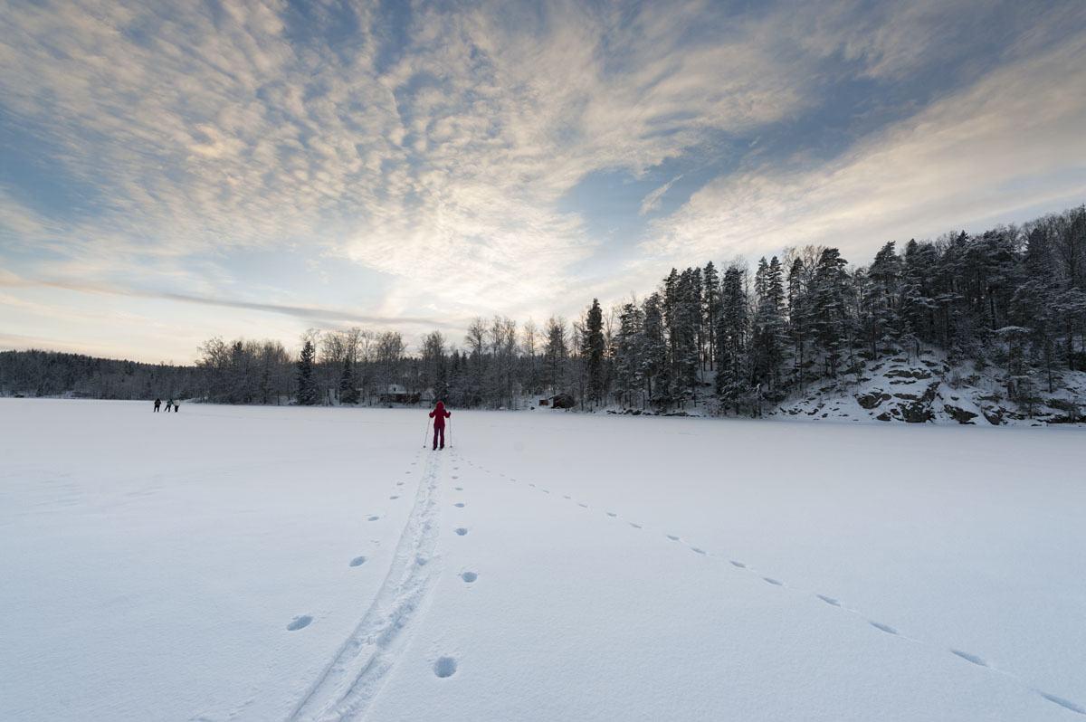 haltia nuuksio national park snowshoeing
