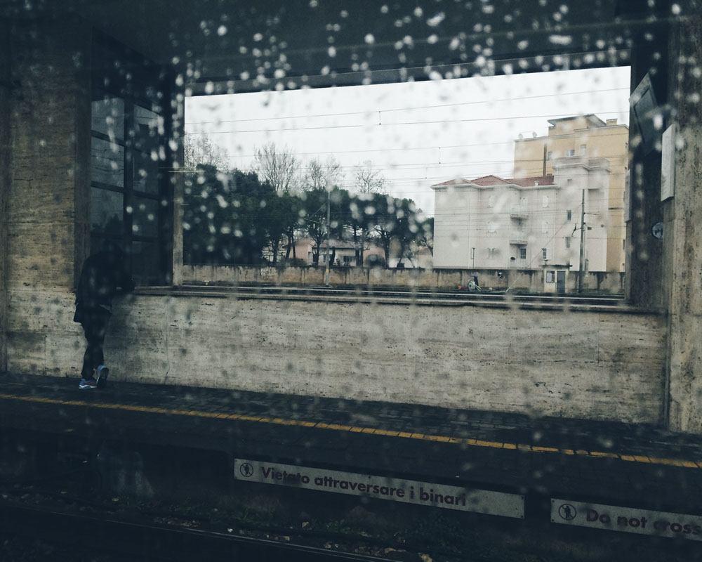 train window rain italy