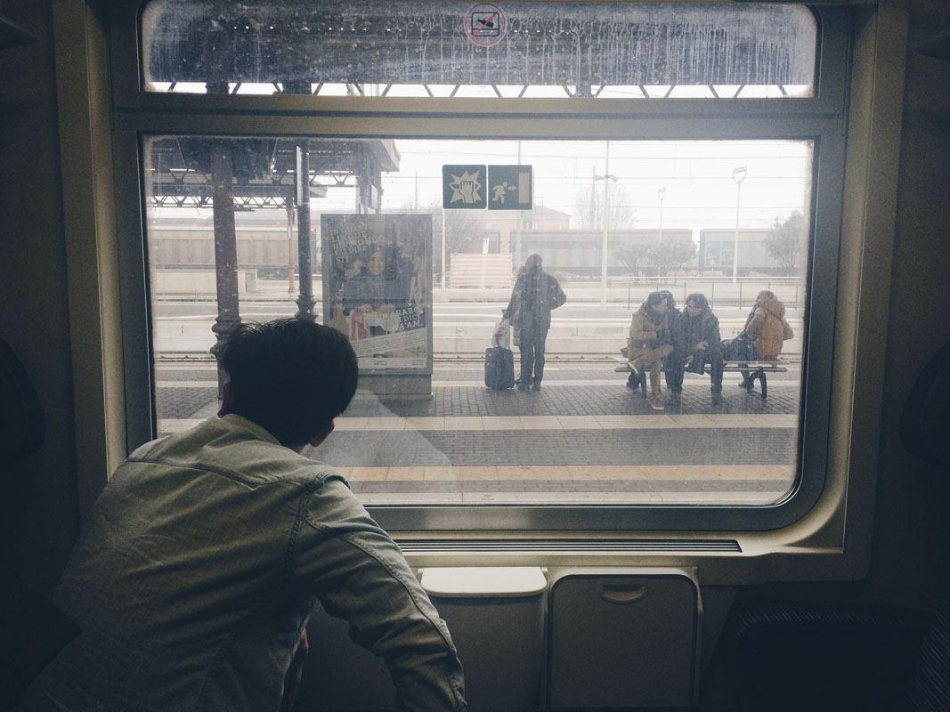 train stories man train window