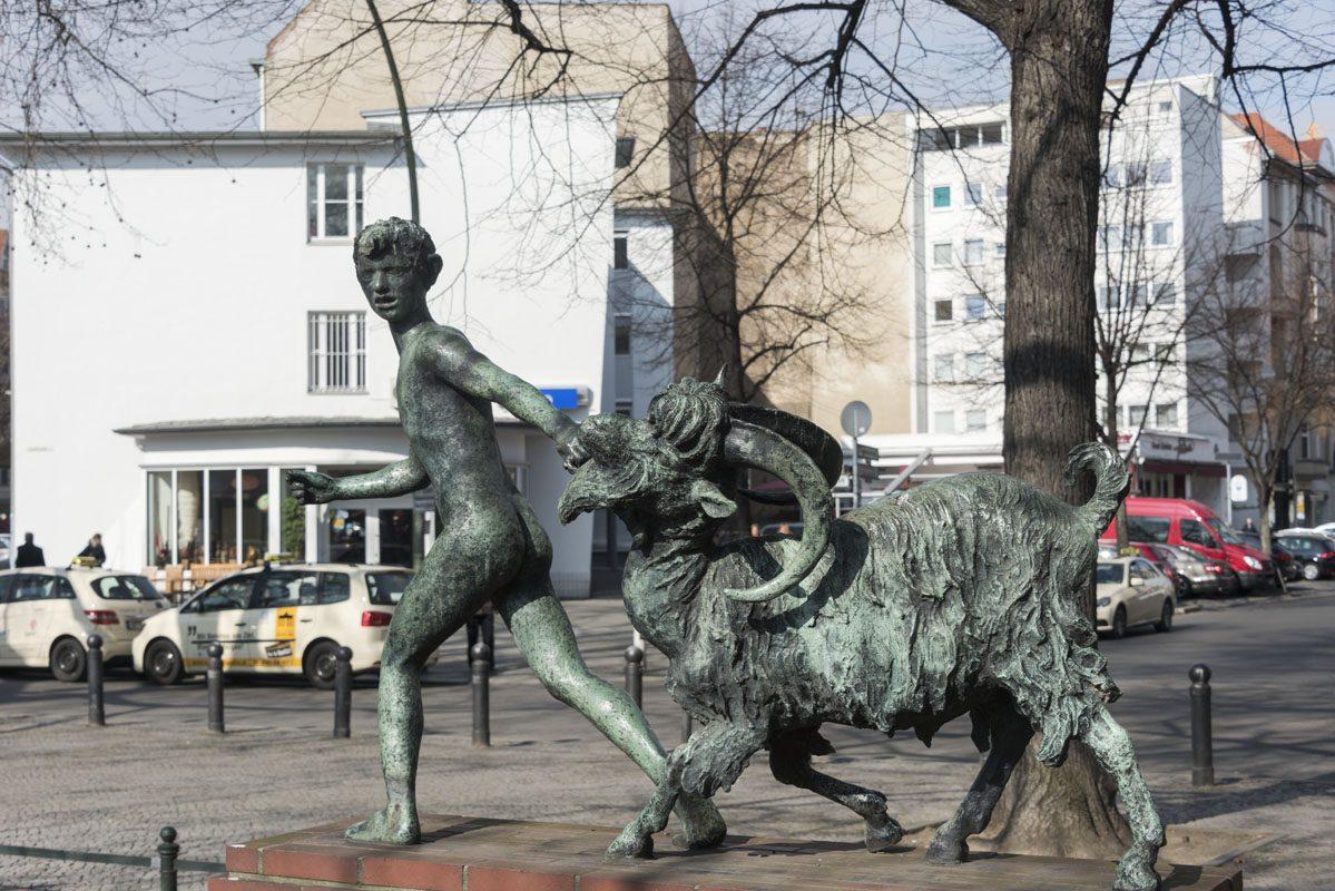 west berlin boy goat garden sculpture
