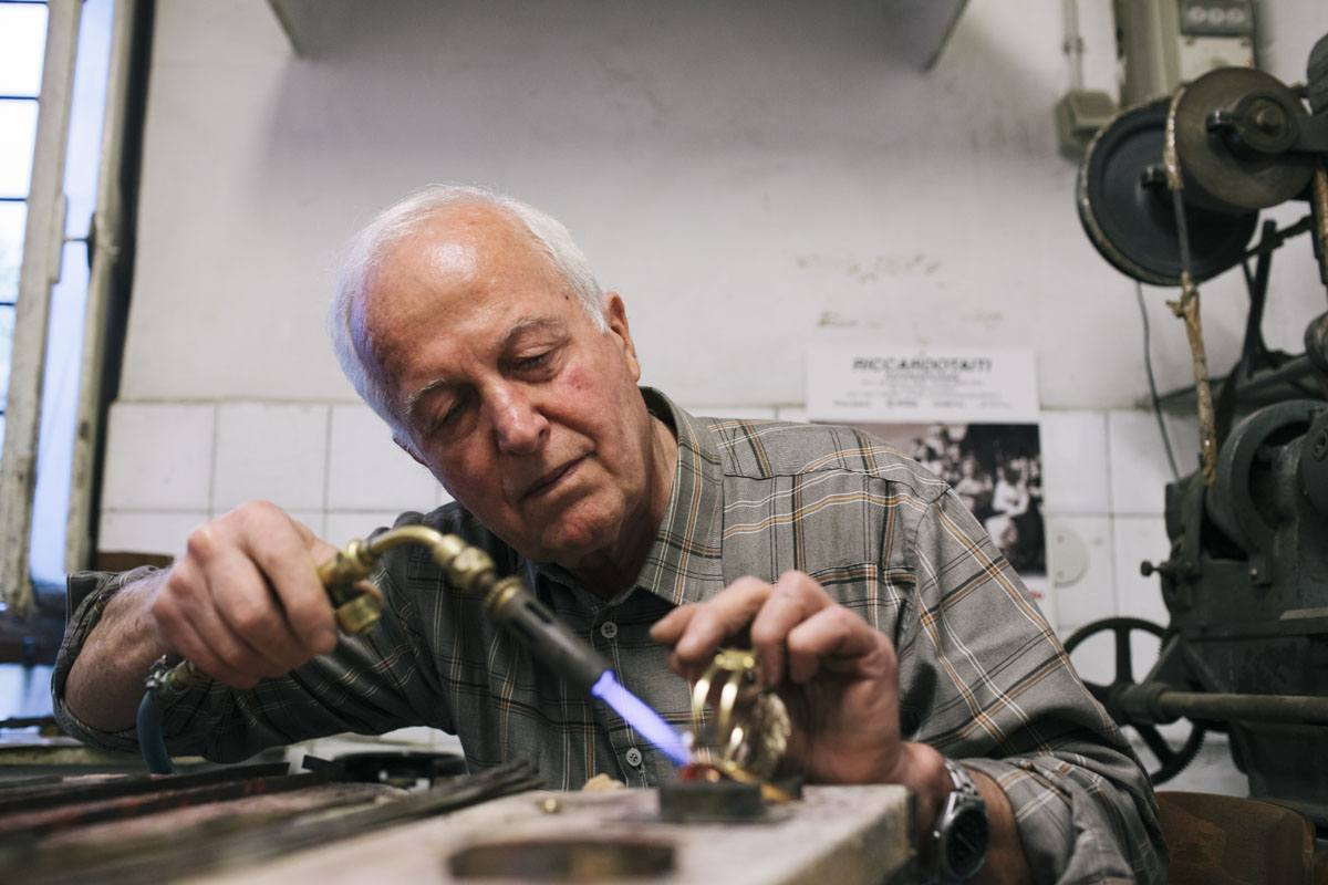 giuliano ricchi metal workshop blowtorch work