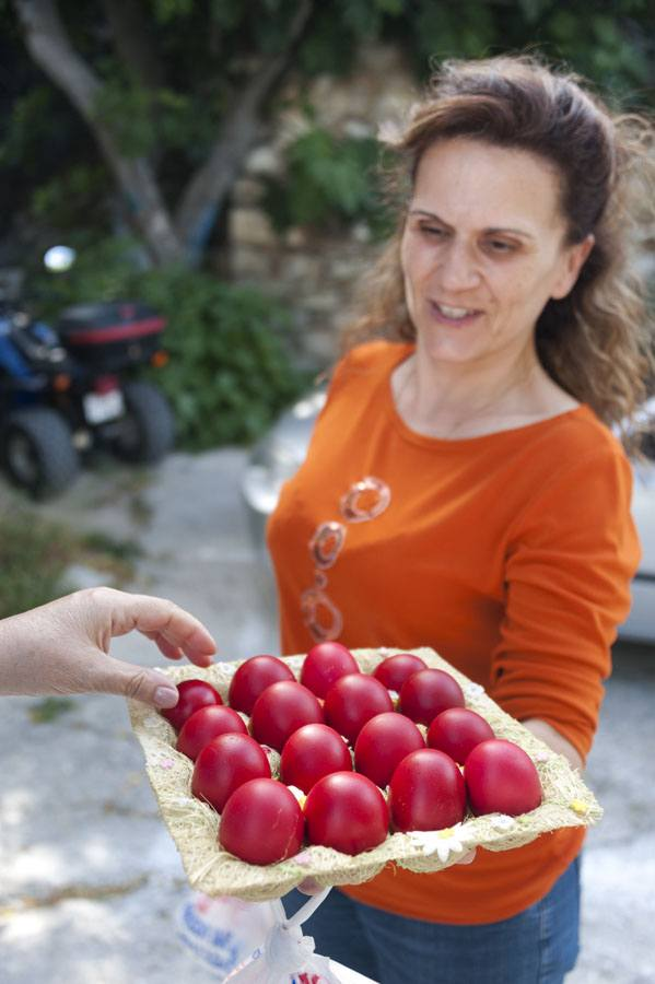 easter astypalea greek island woman eggs