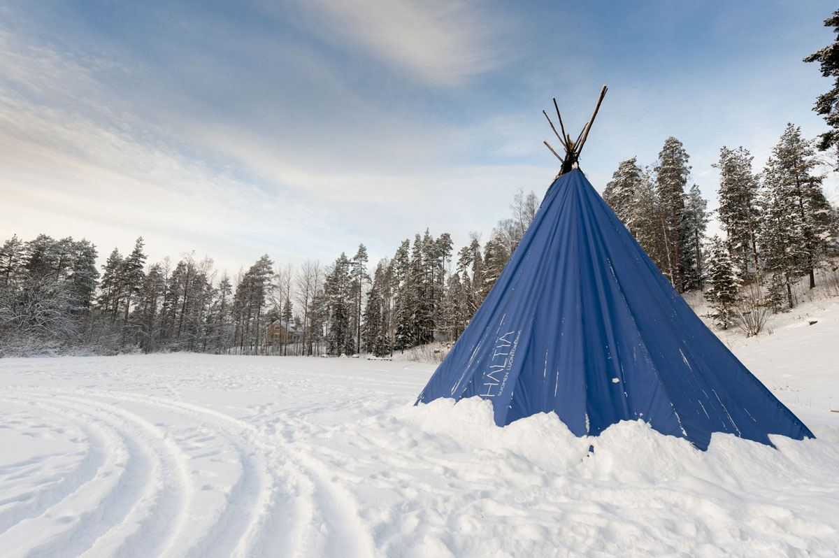 camping in winter finland