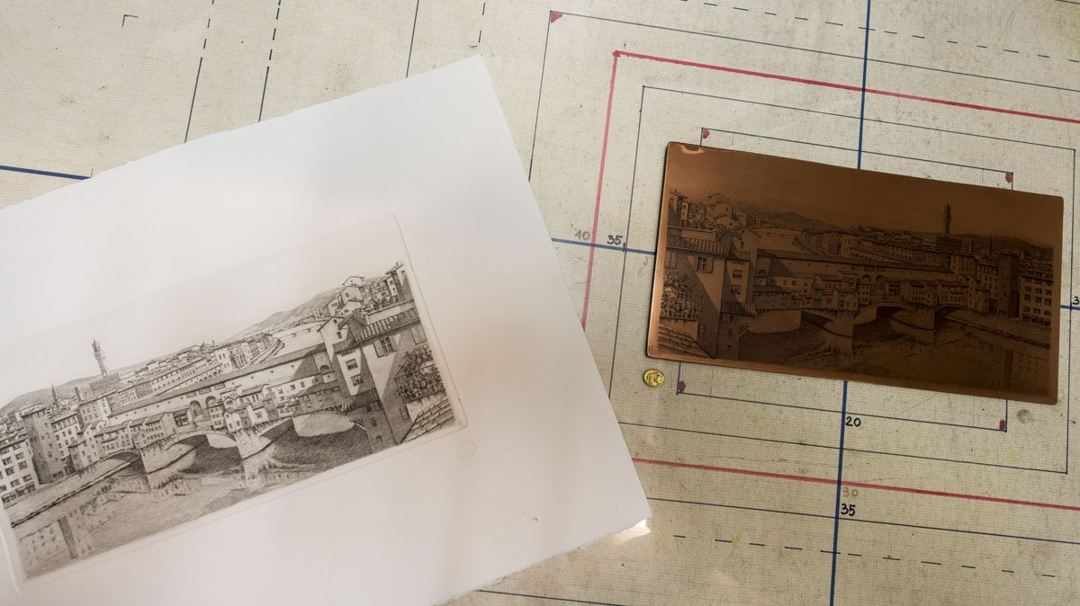 etching oltrarno florence print