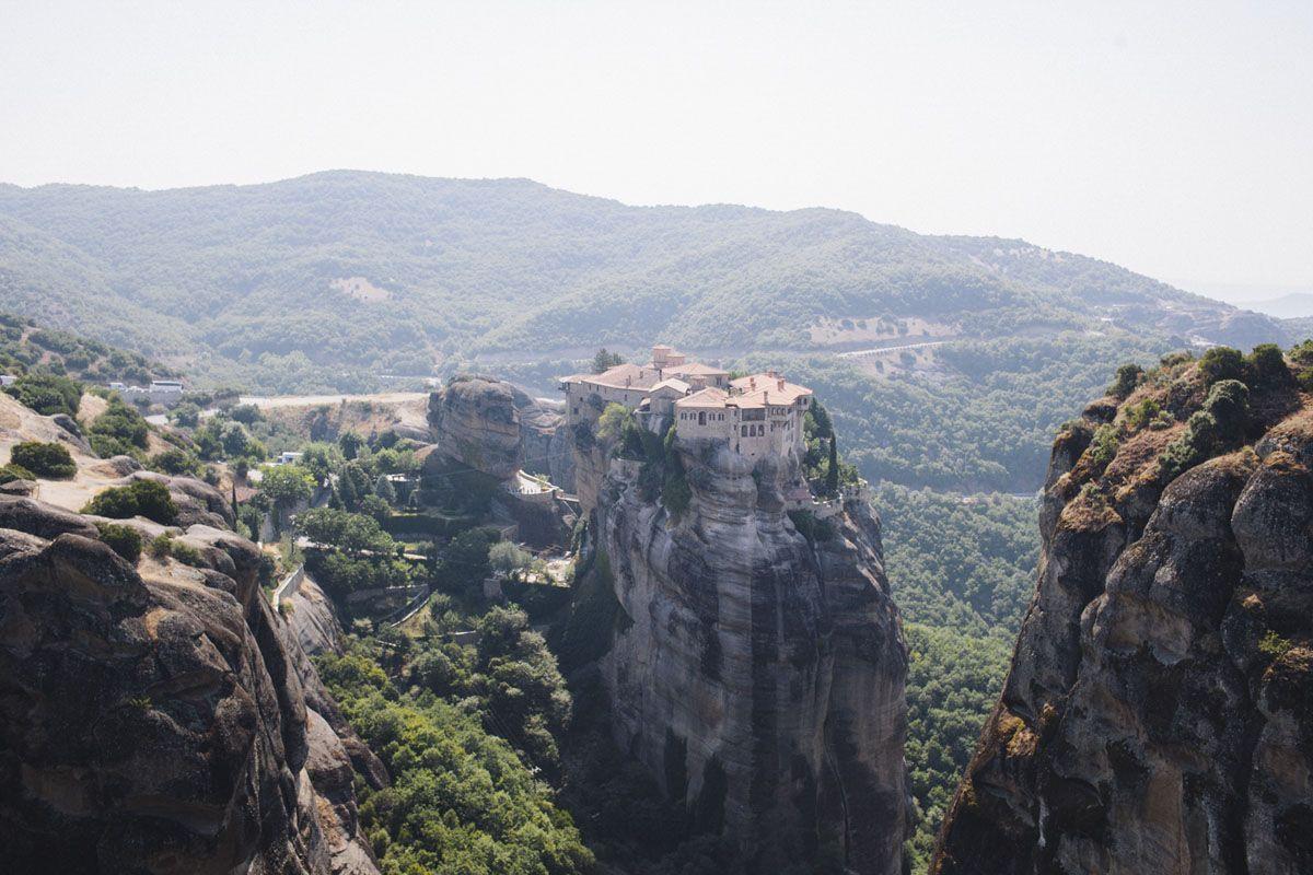 meteora monasteries sun
