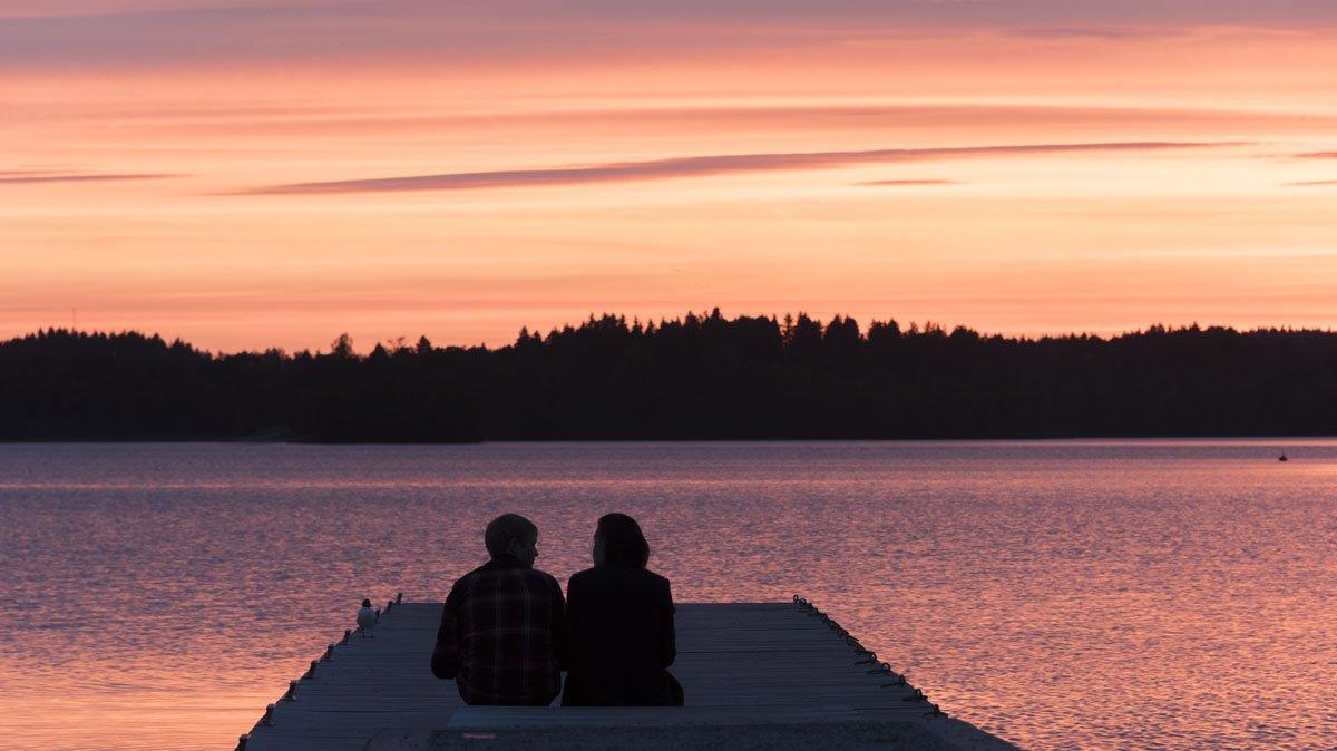 lohja finland lake sunset couple