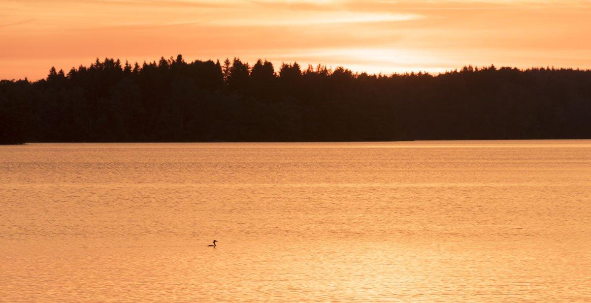 lohja finland lake sunset orange