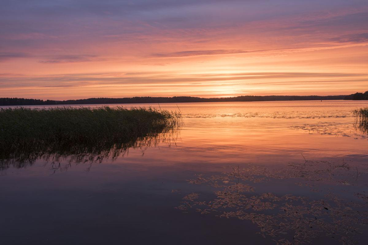 lohja finland lake sunset reflection