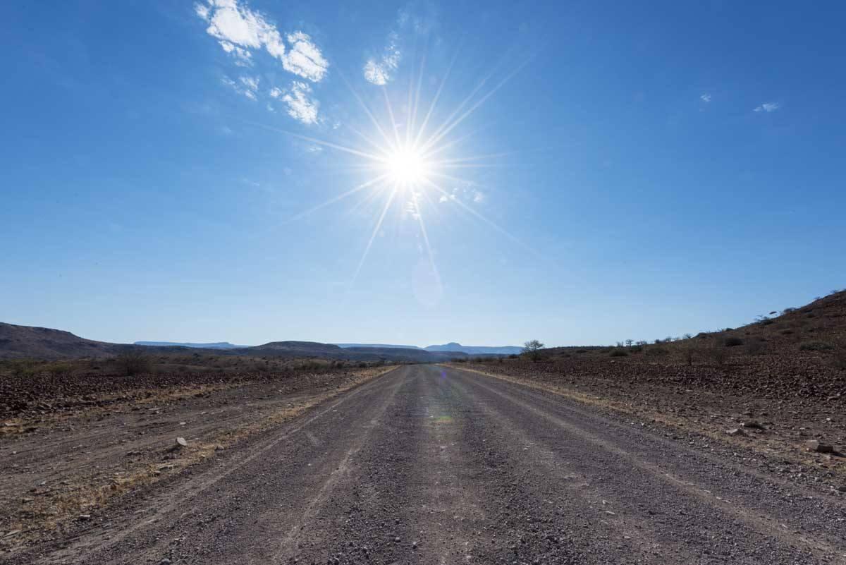 overlanding namibia road sun