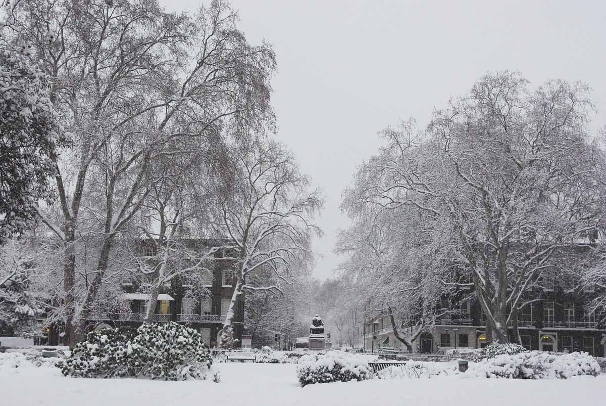 snowy london winter