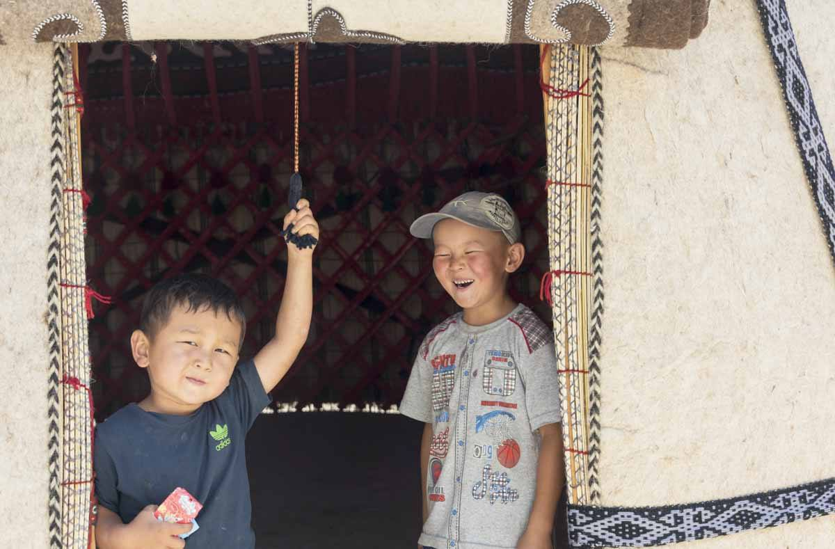 two kids kyrgyzstan