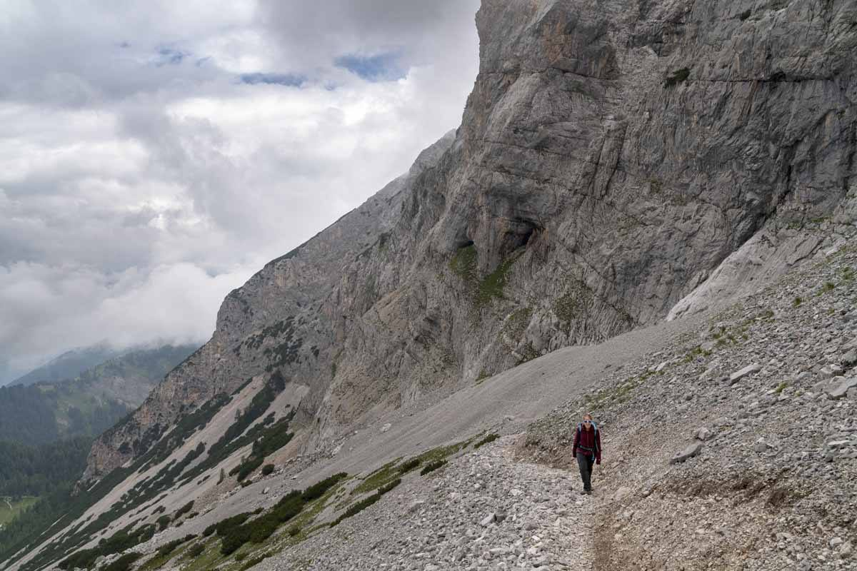 climbing up moraine italian alps