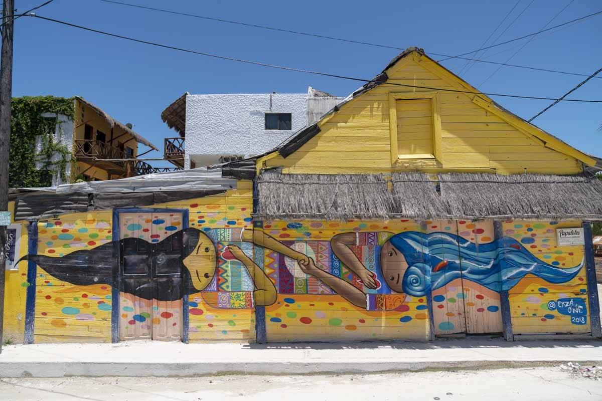 holbox yellow street art