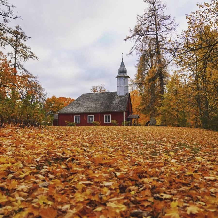 latvia autumn church