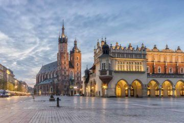 St Mary's church and Cloth Hall on Main Market Square in Krakow,