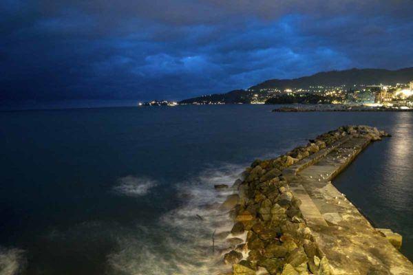 rapallo pier night