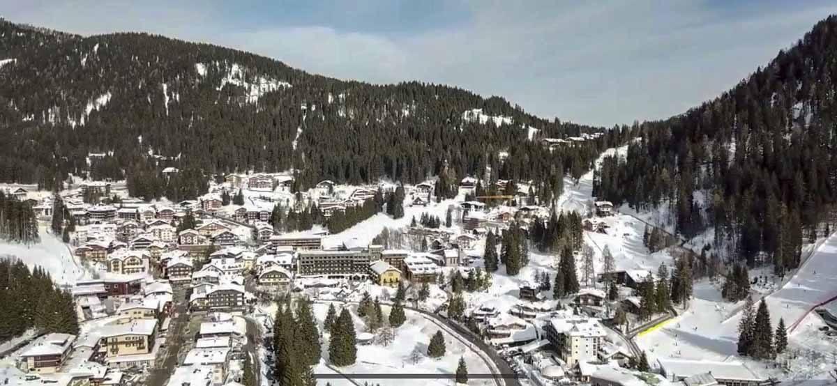 madonna di campiglio aerial view snow