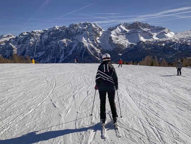 madonna di campiglio dolomites girl skiing