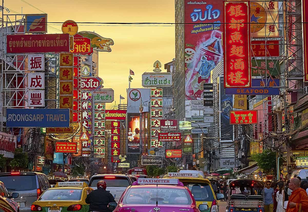 bangkok chinatown sunset