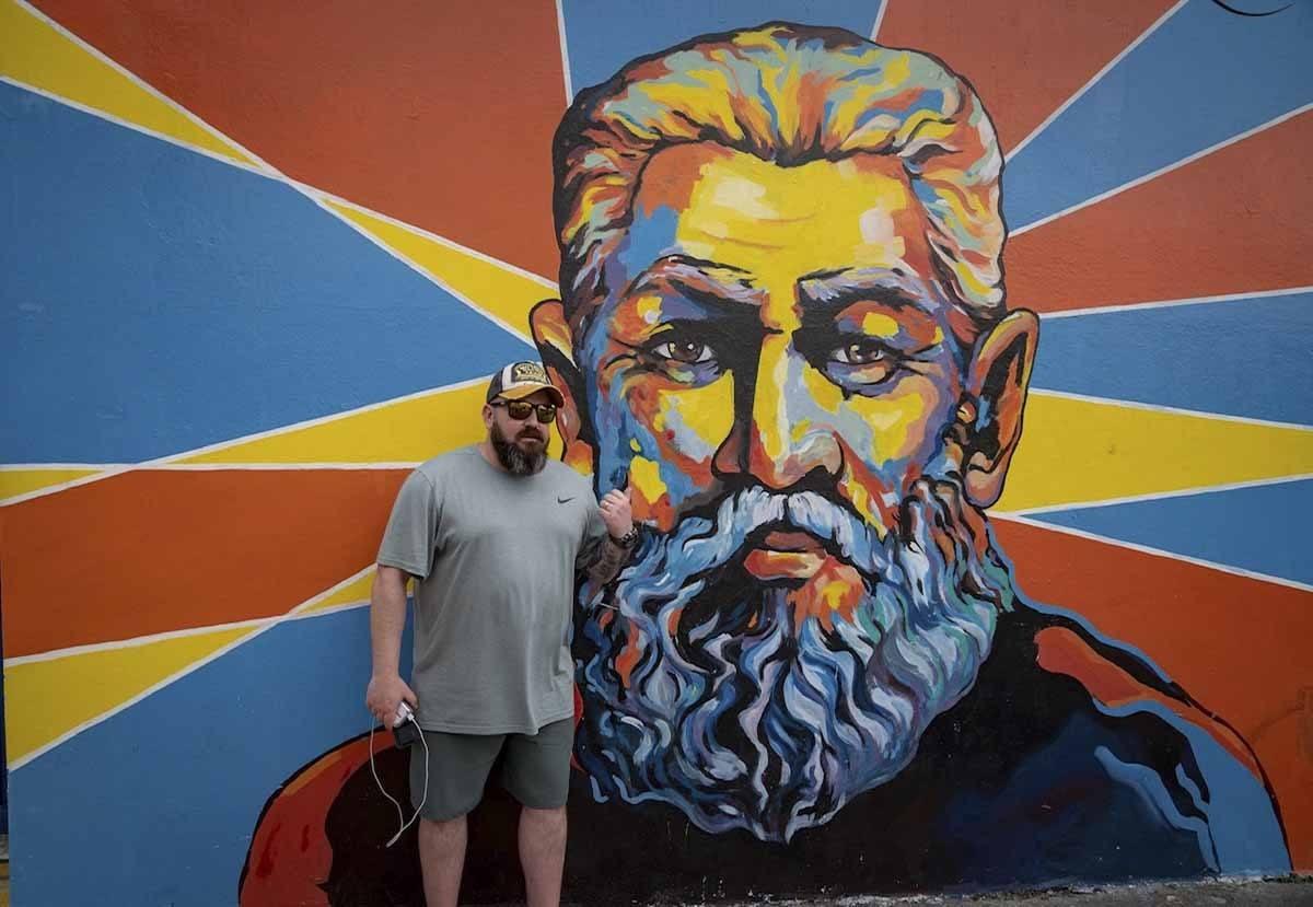street art beard mural
